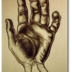 Charcoal illustration of my left hand.