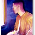 Oil painting of Tom, gazing out of a window, 1998.